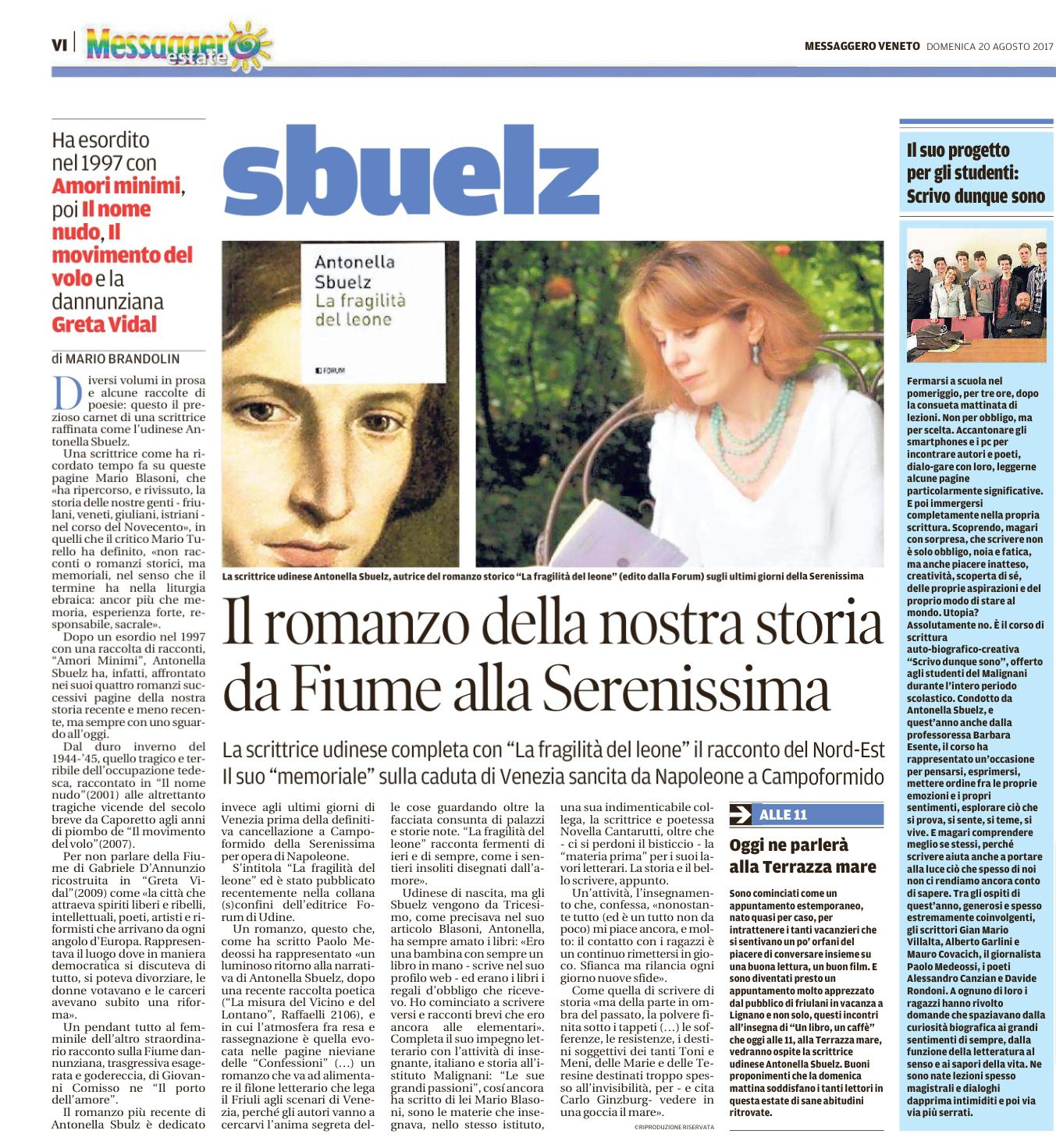 """La recensione de """"La fragilità del leone"""" su Il Messaggero Veneto"""