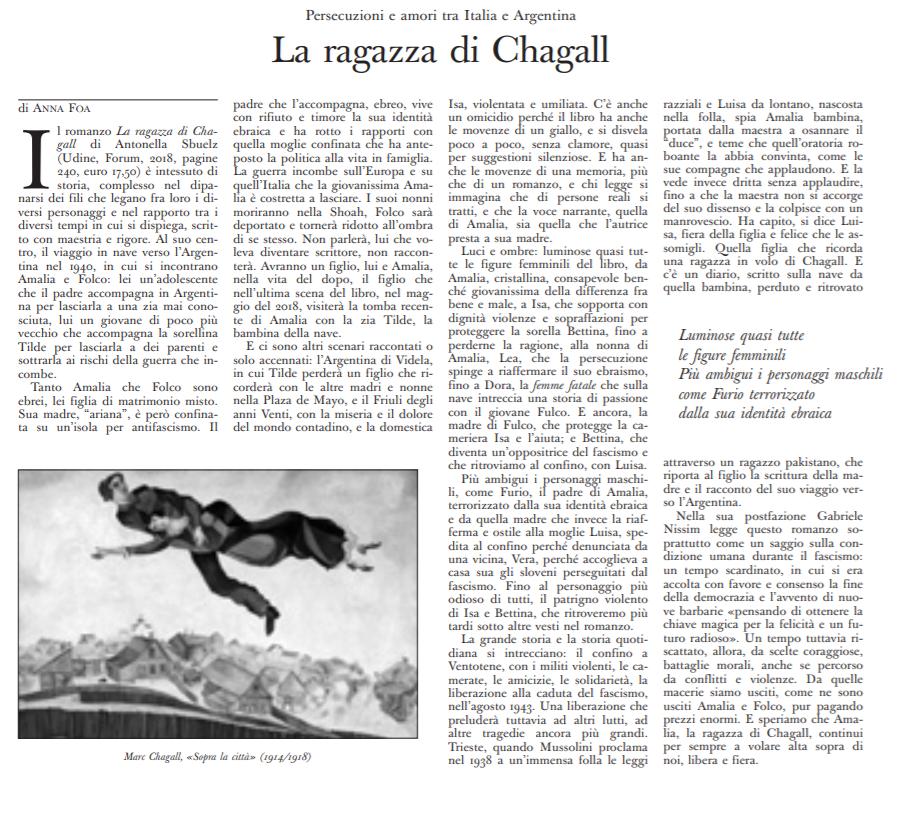 """""""Persecuzioni e amori fra Italia a Argentina"""":   """"La ragazza di Chagall"""" nella recensione di Anna Foa per L'Osservatore Romano ."""